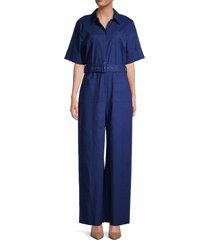 staud women's zavey belted linen-blend jumpsuit - caper - size xl