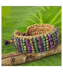 unakite and amethyst beaded bracelet, 'ethnic parallels' (thailand)