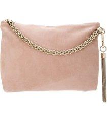 jimmy choo bolsa clutch 'callie' de couro - rosa