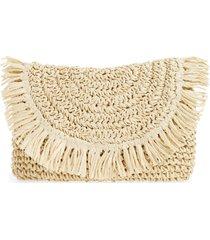 nordstrom clara soft straw clutch - beige