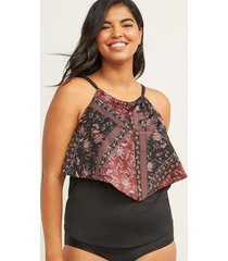 lane bryant women's relaxed flounce swim tankini top with no-wire bra - high neck 18 black