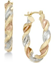 satin twist hoop earrings in 10k tri-tone gold