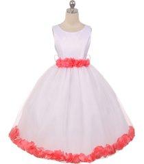 white dress coral ribbon sash floral tulle petals birthday flower girl dress