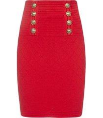 balmain buttoned stretch knit skirt