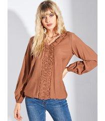 yoins blusa de manga larga plisada con cuello en v marrón