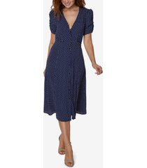sage collective button-up polka-dot midi dress