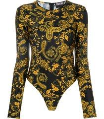 versace jeans couture paisley loop-print bodysuit - black