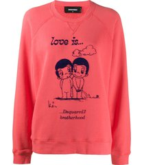 dsquared2 love is print sweatshirt - pink