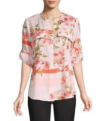 botanical roll-sleeve utility blouse
