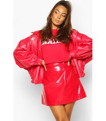 oversized pu 80's jacket, red