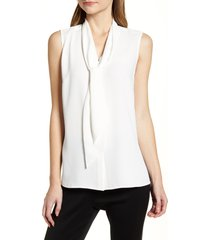 women's ming wang crepe tie neck sleeveless blouse, size x-small - white