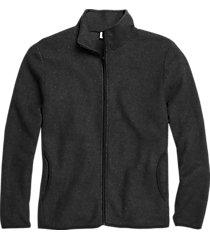 alternative apparel modern fit eco-teddy full zip fleece jacket black