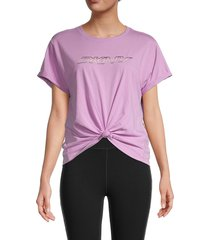 dkny women's ombre logo boxy t-shirt - ivory - size xs