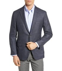 men's hickey freeman classic fit wool & silk blazer, size 42 l - blue