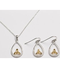 gold plated trinity knot drop jewelry set