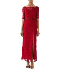 women's gucci off the shoulder lace column gown, size 8 us / 44 it - red