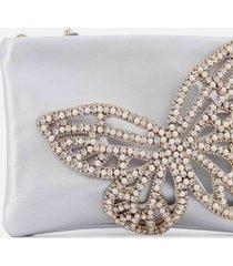 sophia webster women's flossy crystal clutch bag - silver & pearl