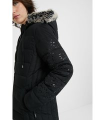 slim hooded jacket removable fur - black - xl
