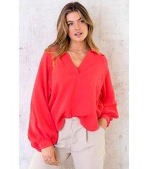 katoenen oversized blouse koraal oranje