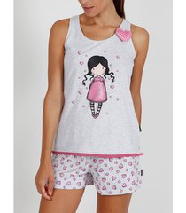 pyjama's / nachthemden admas pyjamashort tanktop awareness santoro grijs