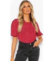 blouse met stippen en grote mouwen, berry