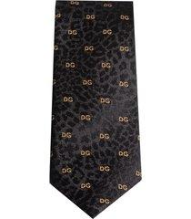 dolce & gabbana leopard-print logo tie - black