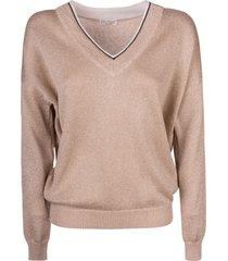 brunello cucinelli v-neck ribbed sweatshirt