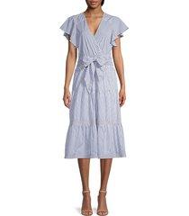 parker women's bessie stripe cotton poplin ruffle dress - azure stripe - size l