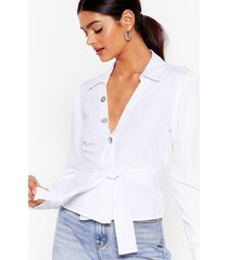 womens tie not now belted shirt - white