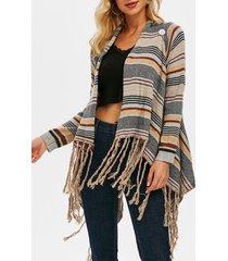 draped fringed striped convertible cardigan