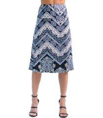 women's paisley print elastic waist midi skirt