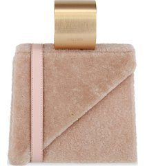 d'estree women's ettore shearling top handle satchel - pink