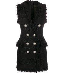 balmain sleeveless tweed fitted dress - black