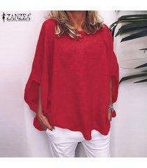 zanzea las mujeres más del tamaño de cuello redondo manga corta tapas de las señoras de gran tamaño t shirts blusa -rojo