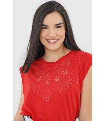 camiseta desigual budapest vermelha