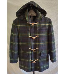 nwt lauren ralph lauren mens tartan blue green plaid wool hood overcoat m