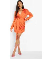 petite satijnen wikkel jurk, orange