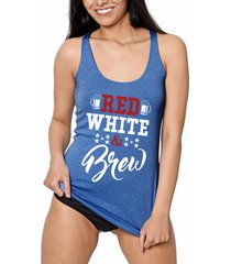 red white brew fourth of july patriotic racer back sexy womens fashion tank top
