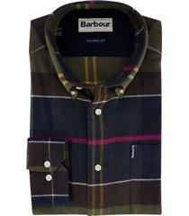 barbour overhemd tailored fit blauw groen geruit
