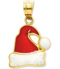 14k gold charm, red and white santa hat charm