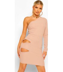 geribbelde bandage mini jurk met eén blote schouder en uitgesneden taille, oatmeal