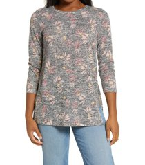 bobeau side panel inset tunic top, size x-small in black berry floral at nordstrom