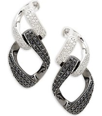 14k white goldplated & black rhodium white & black diamond interlink drop earrings