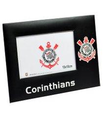 porta retrato minas de presentes de vidro 1 foto 10x15cm - corinthians preto