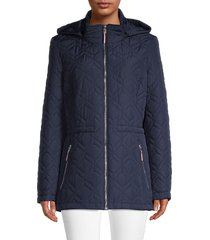 tommy hilfiger women's diamond-quilted hooded jacket - black - size l