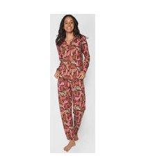 pijama malwee liberta onça rosa/marrom