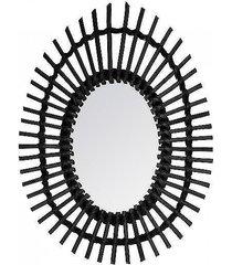 lustro owalne w plecionej ramie czarne