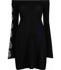 antonella rizza perla drop-shoulder knitted dress - black