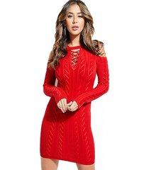 vestido ls laced rib mix allison dress rojo guess