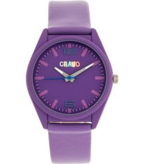 crayo unisex dynamic purple leatherette strap watch 36mm